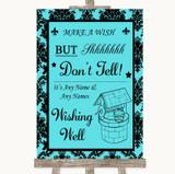 Tiffany Blue Damask Wishing Well Message Customised Wedding Sign