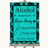 Turquoise Damask Alcohol Bar Love Story Customised Wedding Sign