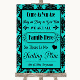 Turquoise Damask All Family No Seating Plan Customised Wedding Sign