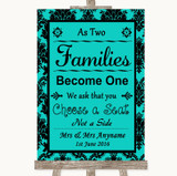 Turquoise Damask As Families Become One Seating Plan Customised Wedding Sign