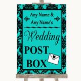 Turquoise Damask Card Post Box Customised Wedding Sign