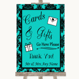Turquoise Damask Cards & Gifts Table Customised Wedding Sign