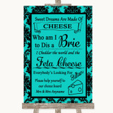 Turquoise Damask Cheese Board Song Customised Wedding Sign