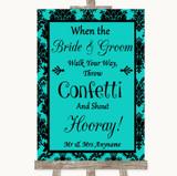 Turquoise Damask Confetti Customised Wedding Sign