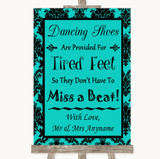 Turquoise Damask Dancing Shoes Flip-Flop Tired Feet Customised Wedding Sign
