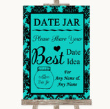 Turquoise Damask Date Jar Guestbook Customised Wedding Sign