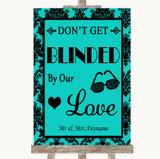 Turquoise Damask Don't Be Blinded Sunglasses Customised Wedding Sign