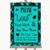 Turquoise Damask Fingerprint Tree Instructions Customised Wedding Sign