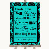 Turquoise Damask Friends Of The Bride Groom Seating Customised Wedding Sign