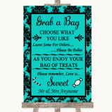 Turquoise Damask Grab A Bag Candy Buffet Cart Sweets Customised Wedding Sign