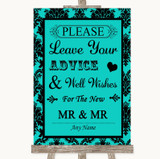 Turquoise Damask Guestbook Advice & Wishes Gay Customised Wedding Sign