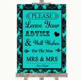 Turquoise Damask Guestbook Advice & Wishes Lesbian Customised Wedding Sign