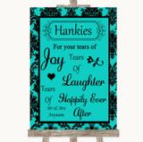 Turquoise Damask Hankies And Tissues Customised Wedding Sign