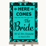 Turquoise Damask Here Comes Bride Aisle Sign Customised Wedding Sign