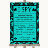 Turquoise Damask I Spy Disposable Camera Customised Wedding Sign