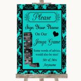 Turquoise Damask Jenga Guest Book Customised Wedding Sign