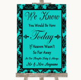 Turquoise Damask Loved Ones In Heaven Customised Wedding Sign