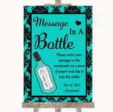 Turquoise Damask Message In A Bottle Customised Wedding Sign