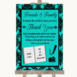 Turquoise Damask Photo Guestbook Friends & Family Customised Wedding Sign