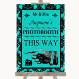 Turquoise Damask Photobooth This Way Left Customised Wedding Sign
