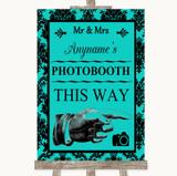 Turquoise Damask Photobooth This Way Right Customised Wedding Sign