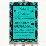 Turquoise Damask Pick A Prop Photobooth Customised Wedding Sign