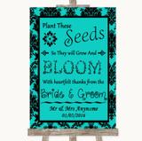 Turquoise Damask Plant Seeds Favours Customised Wedding Sign