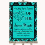 Turquoise Damask Puzzle Piece Guest Book Customised Wedding Sign