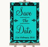 Turquoise Damask Save The Date Customised Wedding Sign