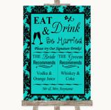 Turquoise Damask Signature Favourite Drinks Customised Wedding Sign