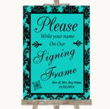 Turquoise Damask Signing Frame Guestbook Customised Wedding Sign