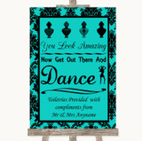 Turquoise Damask Toiletries Comfort Basket Customised Wedding Sign