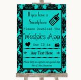Turquoise Damask Wedpics App Photos Customised Wedding Sign