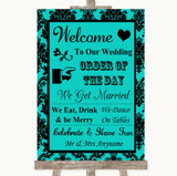 Turquoise Damask Welcome Order Of The Day Customised Wedding Sign