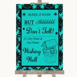 Turquoise Damask Wishing Well Message Customised Wedding Sign