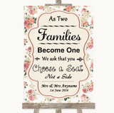 Vintage Roses As Families Become One Seating Plan Customised Wedding Sign