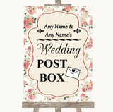 Vintage Roses Card Post Box Customised Wedding Sign