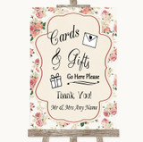 Vintage Roses Cards & Gifts Table Customised Wedding Sign