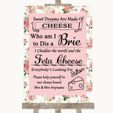 Vintage Roses Cheese Board Song Customised Wedding Sign