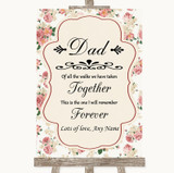 Vintage Roses Dad Walk Down The Aisle Customised Wedding Sign