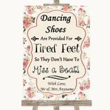 Vintage Roses Dancing Shoes Flip-Flop Tired Feet Customised Wedding Sign