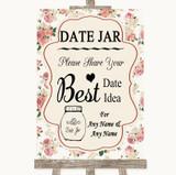 Vintage Roses Date Jar Guestbook Customised Wedding Sign