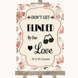 Vintage Roses Don't Be Blinded Sunglasses Customised Wedding Sign