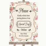 Vintage Roses Don't Post Photos Online Social Media Customised Wedding Sign