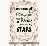 Vintage Roses Drink Champagne Dance Stars Customised Wedding Sign