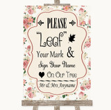 Vintage Roses Fingerprint Tree Instructions Customised Wedding Sign