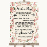 Vintage Roses Grab A Bag Candy Buffet Cart Sweets Customised Wedding Sign