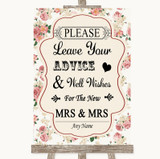 Vintage Roses Guestbook Advice & Wishes Lesbian Customised Wedding Sign
