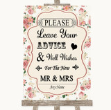 Vintage Roses Guestbook Advice & Wishes Mr & Mrs Customised Wedding Sign