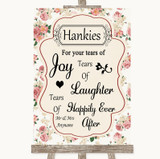 Vintage Roses Hankies And Tissues Customised Wedding Sign